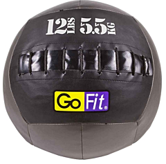 "GoFit 14"" Wall Ball Vinyl Medicine Ball w/ Manual - 12lbs"