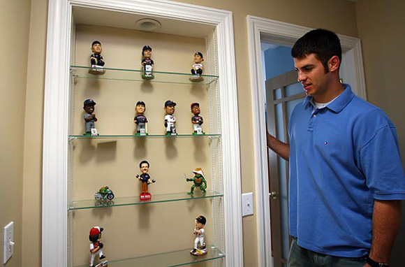 picture of the joe mauer bobblehead collection